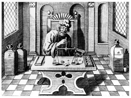 Assayer Testing Samples of Gold and Silver, 1683--Giclee Print