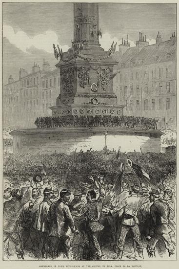 Assemblage of Paris Republicans at the Column of July, Place De La Bastille--Giclee Print