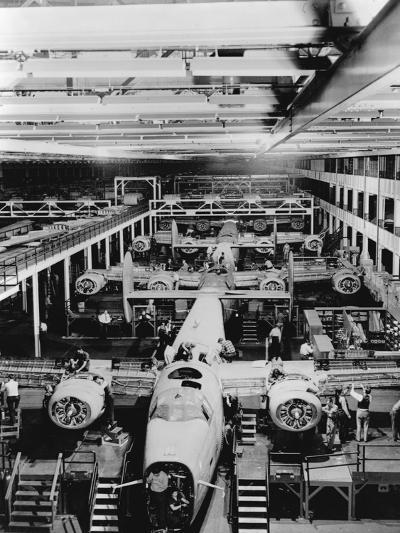 Assembly of B-24 Bombers at Willow Run Plant--Photographic Print