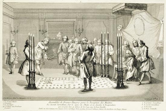 Assembly of Freemasons before the initiation of a master, c1733-Unknown-Giclee Print