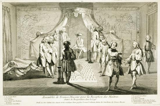 Assembly of Freemasons for the initiation of a Master, c1733-Unknown-Giclee Print