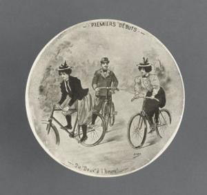 Assiette de la série cyclistes: Premiers début du Deux à l'heure