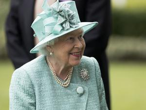 HM Queen Elizabeth in turquoise at Royal Ascot by Associated Newspapers