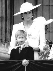 Prince Harry with Princess Diana viewing Trooping the Colour by Associated Newspapers
