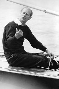 Prince Philip in a yacht by Associated Newspapers