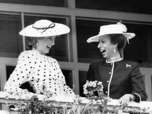 Princess Diana laughing with Princess Anne by Associated Newspapers