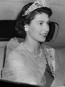 Queen Elizabeth II  (when Princess Elizabeth)  arriving at the Norwegian Embassy in London by Associated Newspapers
