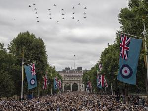 RAF Typhoons form '100' over the Mall by Associated Newspapers