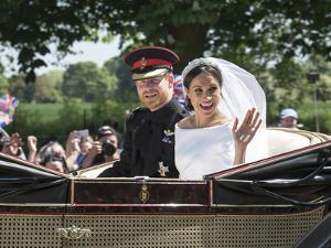 Smiling Newlyweds Prince Harry and Meghan and Wave by Associated Newspapers