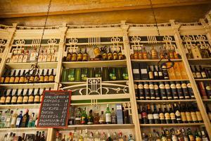 Assorted alcohol at a bar, El Rinconcillo, Seville, Andalusia, Spain