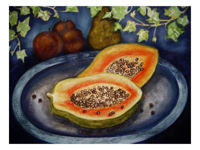 Assorted Fruit, Papaya, Plum, Pear Presented on Blue Platter Covered with Ivy-Emiko Aumann-Giclee Print