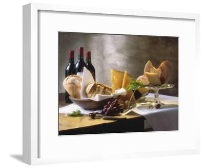 Assorted Types of Cheese with Bread, Red Wine