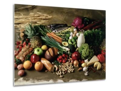Assortment of Fruits, Vegetables & Nuts--Metal Print