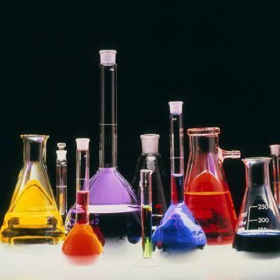 Assortment of Laboratory Flasks Holding Solutions-Tek Image-Photographic Print