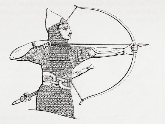 Assyrian Archer Wearing a Cuirass, from the Imperial Bible Dictionary,  Published 1889 Giclee Print by | Art com