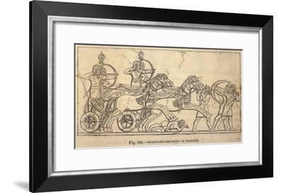 Assyrian Battle Scene with Standard Bearers-Layard's Nineveh-Framed Giclee Print