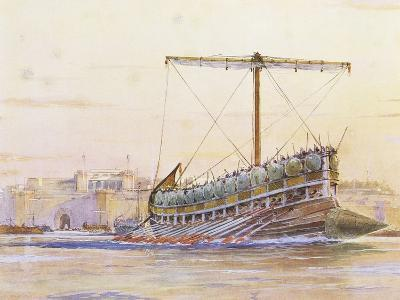Assyrian Galley, Watercolour Reconstruction, Late 19th - Early 20th Century-Albert Sebille-Giclee Print