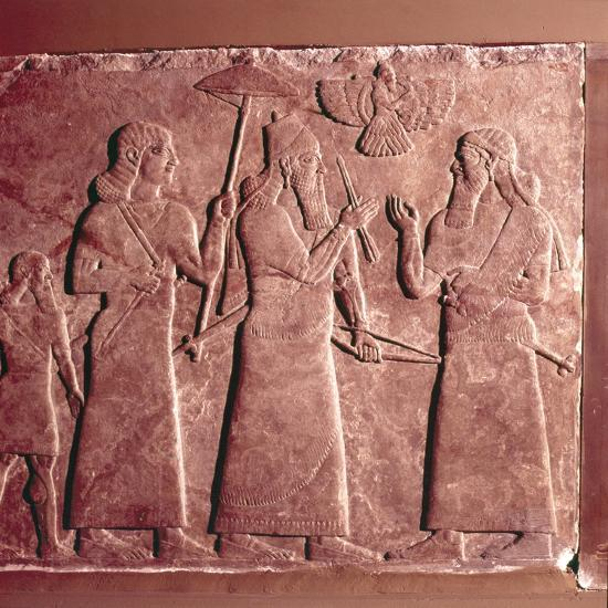 Assyrian Relief, Ashurnasirpal II with attendants, 9th century BC-Unknown-Giclee Print