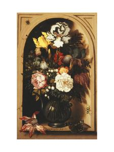 Flowers in a Vase Inside a Niche by Ast Balthasar