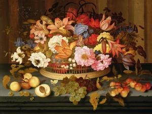 Still Life of Fruit and a Basket of Flowers, 1623 by Ast