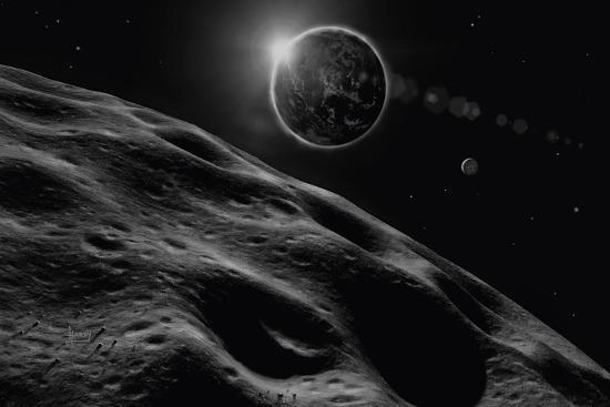 Asteroid Eclipse - Noir-David A Hardy-Giclee Print