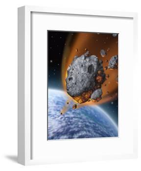 Asteroid Hurtling Towards Earth-null-Framed Art Print