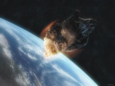 Asteroid in Front of the Earth-Stocktrek Images-Photographic Print