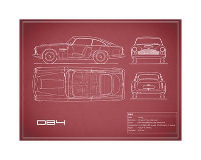 Aston DB4 -Maroon-Mark Rogan-Giclee Print