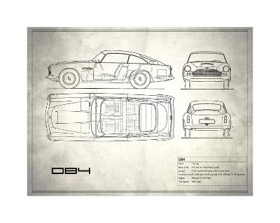 Aston DB4 White-Mark Rogan-Giclee Print