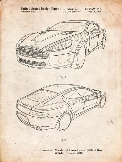 Aston Martin DBS Volante Patent-Cole Borders-Art Print