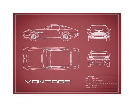 Aston V8 Vantage-Maroon-Mark Rogan-Giclee Print