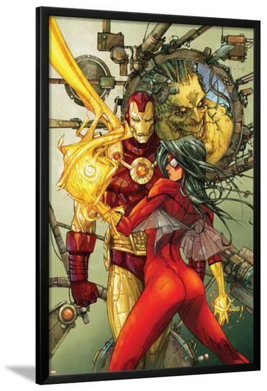 Astonishing Tales No.3 Cover: Spider Woman and Iron Man-Kenneth Rocafort-Lamina Framed Poster