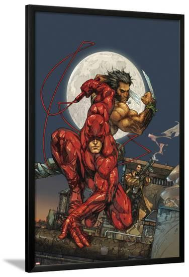 Astonishing Tales No.4 Cover: Daredevil, Wolverine and Punisher-Kenneth Rocafort-Lamina Framed Poster