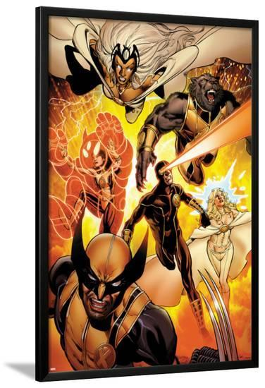 Astonishing X-Men No.35: Storm, Cyclops, Armor, Beast, Wolverine, Frost-Phil Jimenez-Lamina Framed Poster