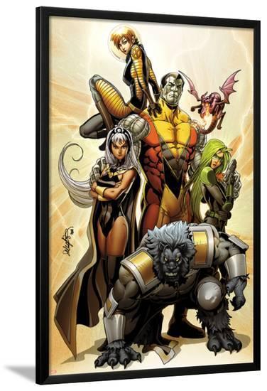 Astonishing X-Men No.38 Cover: Storm, Beast, Colossus, Kitty Pryde, Lockheed, & Agent Abigail Brand-Salvador Larroca-Lamina Framed Poster