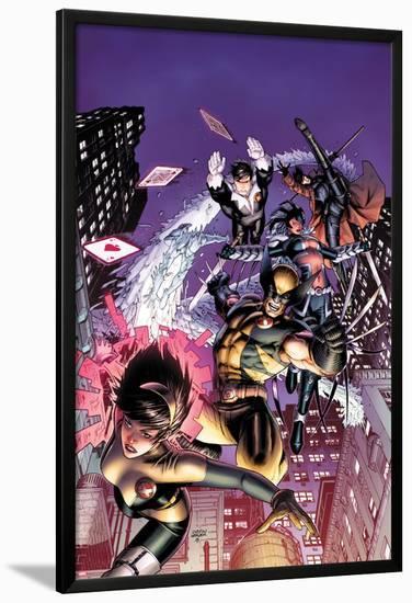 Astonishing X-Men No.48 Cover: Karma, Wolverine, Iceman, Northstar, Gambit, and Warbird-Dustin Weaver-Lamina Framed Poster