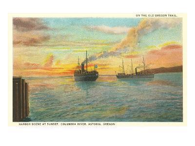 Astoria Harbor at Sunset, Oregon--Art Print