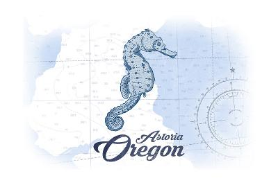 Astoria, Oregon - Seahorse - Blue - Coastal Icon-Lantern Press-Art Print
