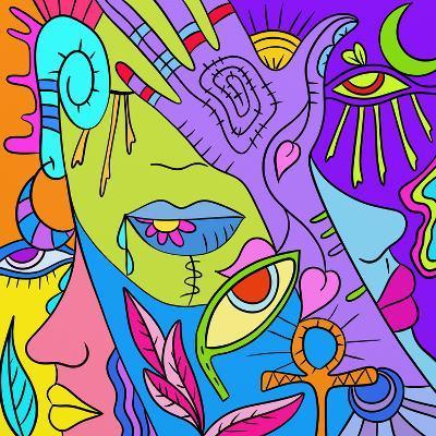 Astratto Colorato Con Mani E Occhi-goccedicolore-Art Print