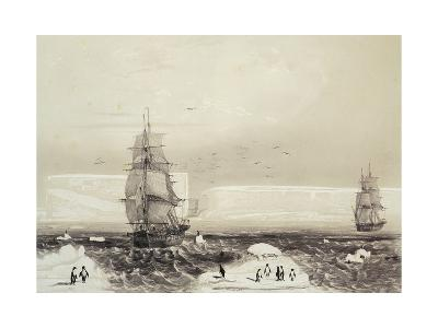 Astrolabe and Zelee Ships Arriving in Adelie Land During Dumont D'Urville's Expedition in Antarctic--Giclee Print