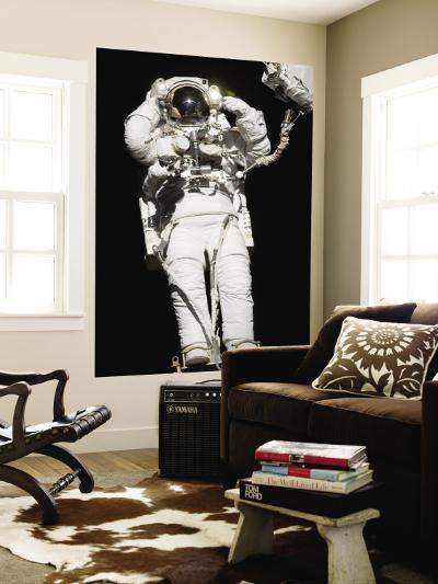 Astronaut Anchored to a Mobile Foot Restraint Participates in a Session of Extravehicular Activity--Wall Mural