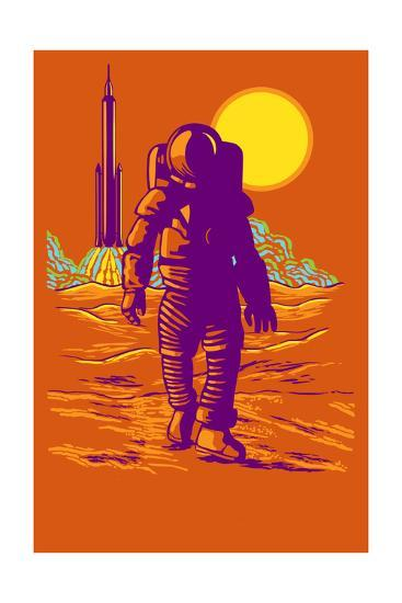 Astronaut and Rocket-Lantern Press-Art Print