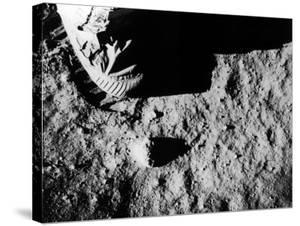 Astronaut Buzz Aldrin's Footprint Being Made in Lunar Soil During Apollo 11 Lunar Mission