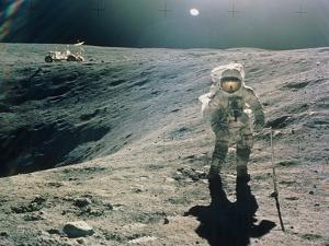 Astronaut Duke Next To Plum Crater, Apollo 16