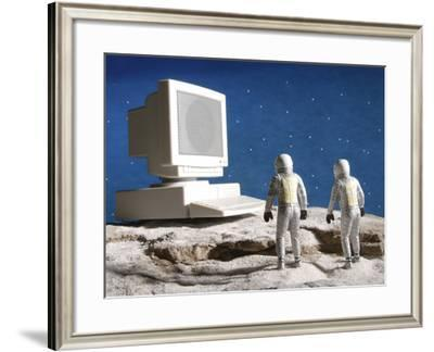 Astronaut Figurines Standing White Computer--Framed Photographic Print