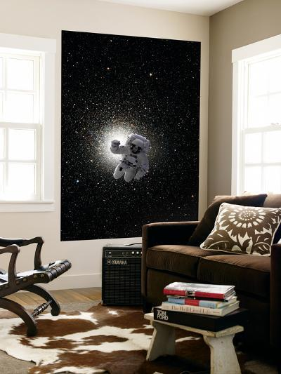 Astronaut Floating in Deep Space with Large Cluster Galaxy in Background-Stocktrek Images-Wall Mural
