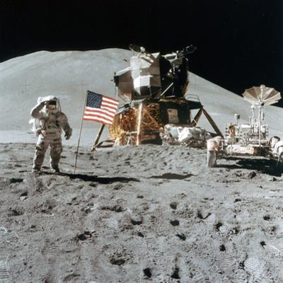 Astronaut James Irwin (1930-199) Gives a Salute on the Moon, 1971