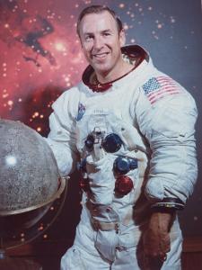 Astronaut James Lovell in Apollo Spacesuit