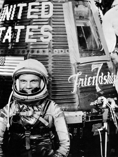 Astronaut John H. Glenn Jr. with the Mercury Friendship 7 Spacecraft--Photographic Print