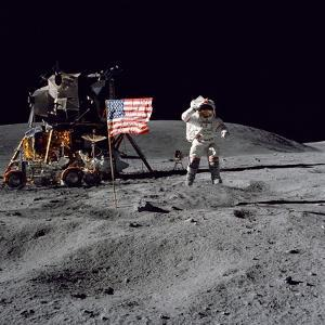 Astronaut John W. Young Salutes the United States Flag During Apollo 16 Mission, 1972